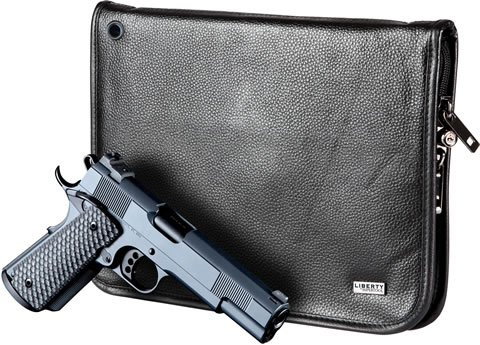 Liberty Safe - Locking Magnetic Full Size Water Resistant Portable Handgun Case for Traveling -- Black Leather