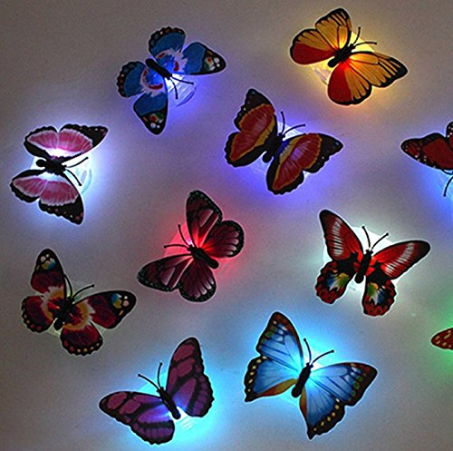 HOT! 1 Pcs Color Changing Cute Butterfly LED Night Light Home Room Desk Wall Decor Random (Butterfly Table Sconce)