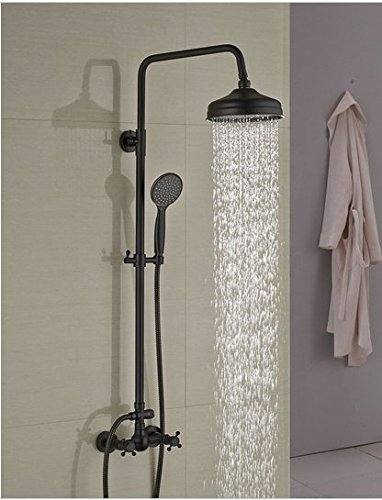 GOWE Modern Oil Rubbed Bronze 8'' Rain Shower Head Wall Mounted Shower Column Dual Handles W/ Hand Shower Tap by Gowe