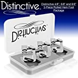 """Distinctive 4-8"""", 6-8"""" and 8-8"""" Wide Rolled Hem 3-Piece Hemmer Sewing Foot Package - Fits All Low Shank Snap-On Singer*, Brother, Babylock, Euro-Pro, Janome, Kenmore, White, Juki, New Home, Simplicity, Elna and More!"""