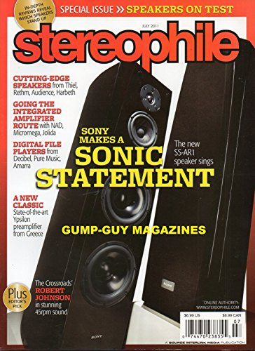 Integra Converter - Stereophile July 2011 Magazine THE CROSSROADS' ROBERT JOHNSON IN STUNNING 45 RPM SOUND Sony Makes A Sonic Statement: The SS-AR1 Speaker sings SPECIAL ISSUE: SPEAKERS ON TEST