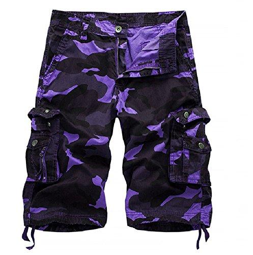 OEAK Men's Outdoor Camouflage Multi Pockets Camo Cargo Shorts Purple 36