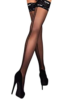 05ad456aa01 THIGH HIGH Sheer Lace Top Silicone Stockings Nylon Hosiery 20 Den Size S M L