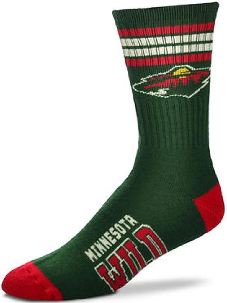 For Bare Feet NHL 4 Stripe Deuce Crew Men Socks-Minnesota Wild-Large 10-13