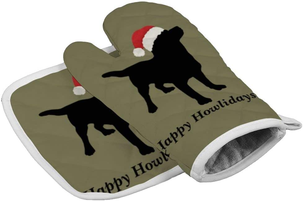 Cute Black Lab Dog with Christmas Santa Claus Hat Oven Gloves Microwave Gloves Barbecue Gloves Kitchen Cooking Bake Heat Resistant Gloves Combination