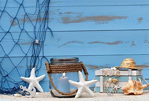 - LFEEY 10x8ft Blue Wood Wall Nautical Background Photography Seaside Beach Starfish Seashell Fishing Net Kids Girl Boy Birthday Party Decor Wallpaper Photo Studio Backdrop