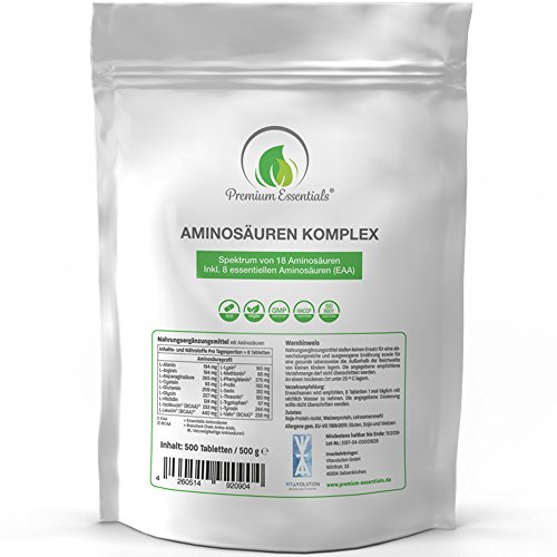 Amino Acid Complex – 500 Tablets Pack 1000MG (Vegan) | Ultra High Dose...