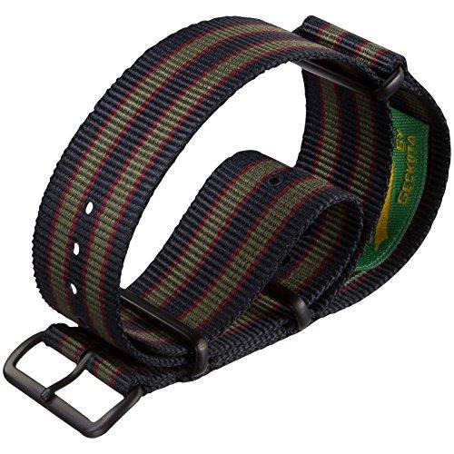 Vintage-Bond-Nylon-Watch-Strap-UK-MOD-Dark-BlueRedGreen-Stripe-22mm-PVD-Black