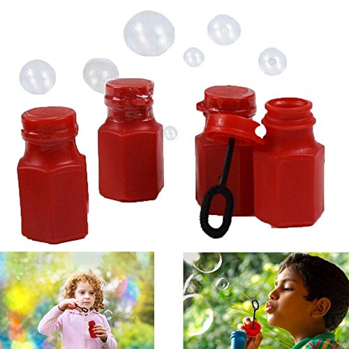 Dazzling Toys Mini Hexagon Red Bubble Bottles - Pack of 12 -