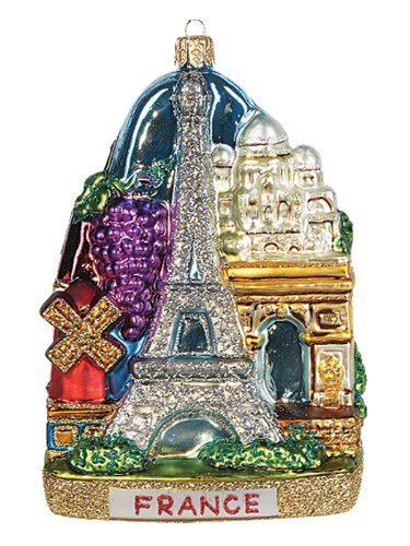 France Landscape Polish Mouth Blown Glass Christmas Ornament Paris Decoration