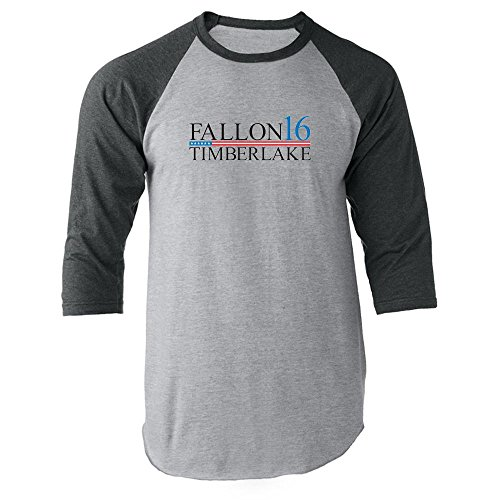 Pop Threads Fallon Timberlake 2016 Presidential Election Funny Gray 3XL Raglan Baseball Tee Shirt