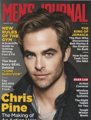 Men's Journal 2014 January - Chris Pine + 5 More Pages Inside Magazine (Best Food Trucks In Miami)