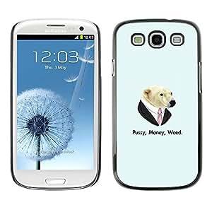 EJOY---Cubierta de la caja de protección la piel dura para el / Samsung Galaxy S3 / --Coño Money Weed Oso