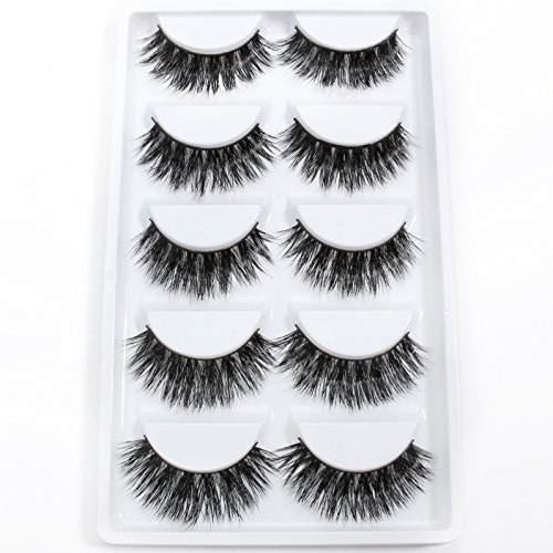 3D Mink False Eye Lashes Beautyorigin Fake Eyelashes 100% Siberian Mink Fur Makeup Wispy Long Cross Thick Reusable Fake Eyelashes 5 Pairs/pack Style 01