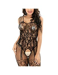 Aiybao Womens Floral Lace Fishnet Open Crotch Bodystocking Lingerie for Sex