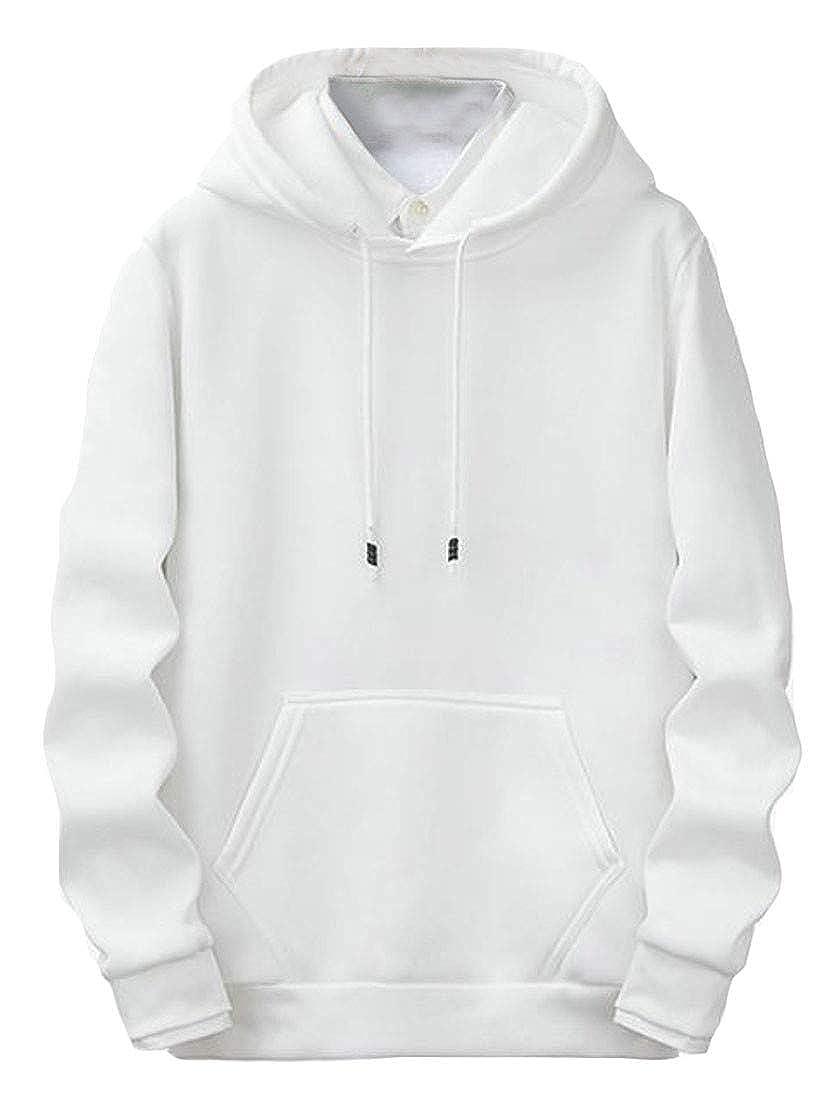 Macondoo Mens Hooded Fleece Thick Pullover Winter Drawstring Sweatshirt