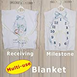 New Little Angel Wearable Baby Monthly Milestone Blanket Photo Prop Set for Boy Girl, Personalized 2in1 Receiving Photography Blankets, Thick Fleece for Mom Newborn Baby Shower Gifts + Frame Ribbon