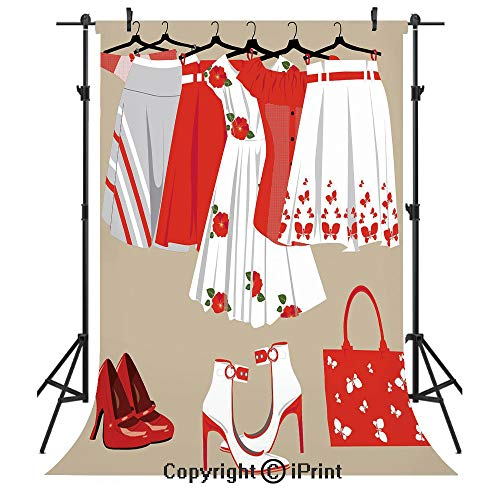 (Heels and Dresses Photography Backdrops,Summer Young Womens Clothing on Hangers Handbag Shoes Feminine Wardrobe Decorative,Birthday Party Seamless Photo Studio Booth Background Banner 5x7ft,Multicolor)