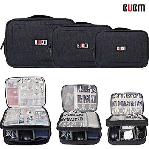 BUBM Waterproof 3pcs/Set Electronic Travel Organizer,Double Layers Electronics Accessories Bag for Cables, Cord, USB Flash Drive, Battery and More,Black