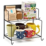 #3: 2-Tier Foldable Spice Rack, EZOWare Collapsible Kitchen Storage Organizer Spice Jars Bottle Counter Shelf Organizer Cabinet Rack - Black