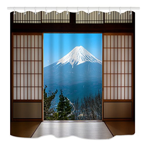 DYNH Mountain Scenery Shower Curtain, Snow Capped Mount Fuji in Japan Seen Through Traditional Wooden Doors, Mildew Resistant Fabric Bathroom Decor, Bath Curtains Accessories, with Hooks, 69X70 Inches