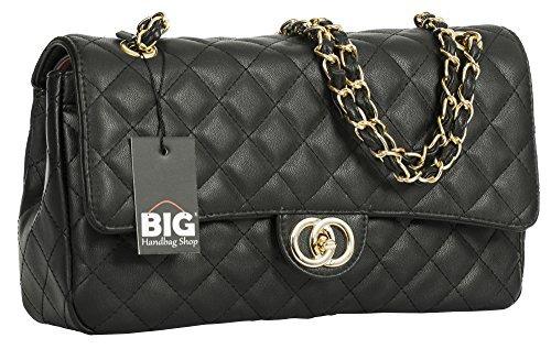 Big Handbag Shop Womens Quilted Twist Lock Shoulder Bag (Black - Round Clasp (Design 2)) (Large Handbag Quilted)