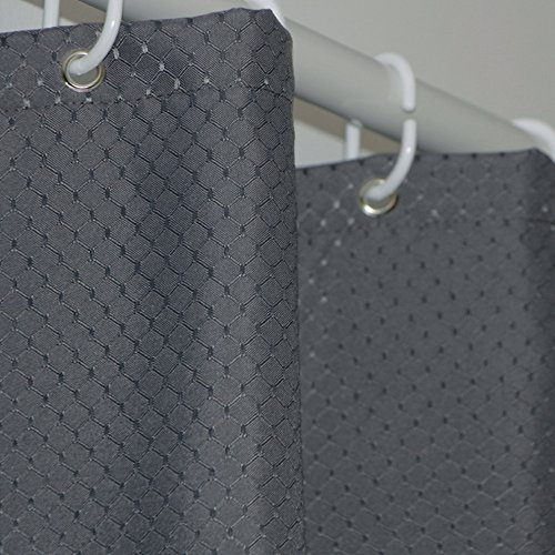 Eforcurtain Large Size 72 Inch Wide by 86 Inch Long Shower Curtain Waffle Weave Pattern, Durable Charcoal Fabric Bathroom Curtain Waterproof Mildew Resistant with Curtain Rings