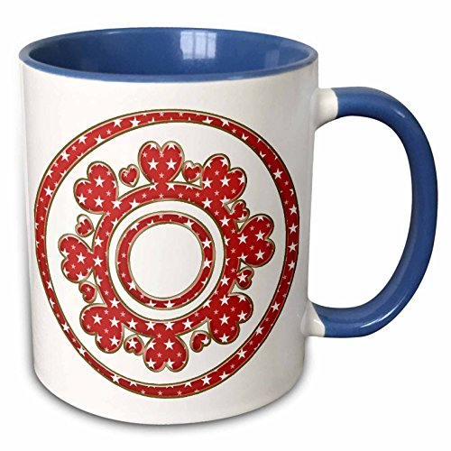 3dRose Anne Marie Baugh - Jewelry - Cute Red and White Hearts Brooch With Stars Illustration - 15oz Two-Tone Blue Mug (mug_213858_11)