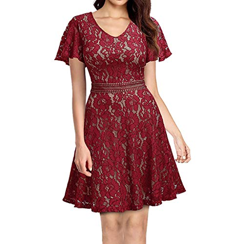 UOKNICE Dresses for Women, Spring Summer Casual Fashion Formal Lace Flare Sleeve Chiffon Prom Party Bridesmaid Dress Christmas midi sexxy Brown sexey sexty Funky Tea Near me line