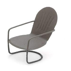 Miniature Rustic Brown Glider Chair, Outdoor Fairy Garden Furniture, Metal Chair