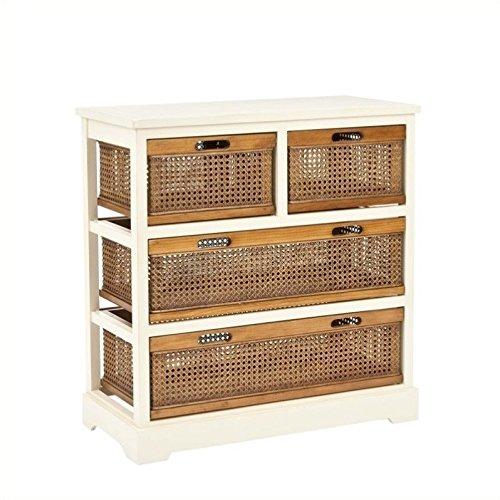 Hawthorne Collection Pine 4 Drawer Storage Cabinet in White