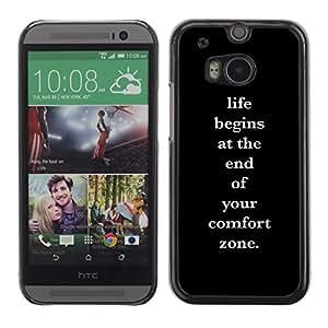 Comfort Zone Vida Cartel de motivación- Metal de aluminio y de plástico duro Caja del teléfono - Negro - HTC One M8