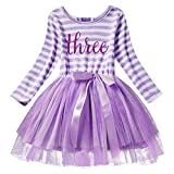 Baby Girls Toddler Kids Princess Long Sleeve Dress 1st/2nd/3rd Birthday Cake Smash Shiny Printed Striped Tulle Tutu Dress Party Outfit Purple