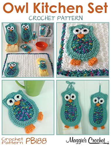 Crochet Pattern Owl Kitchen Set PB188
