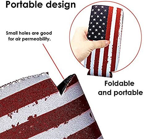 Liamostee Slim Can Cooler 12 oz Bandera Estadounidense Slim Cans Cubiertas Mangas Patriotic Stars Stripes
