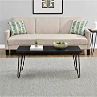 Mainstays Black Clean Industrial Appearance Slim Retro Coffee Table Designed To Fit Into Compact Spaces With Ease, Able to Hold Up to 40 lbs Measuring 17.85H x 42W x 19.5D