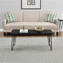 """Mainstays Black Clean Industrial Appearance Slim Retro Coffee Table Designed To Fit Into Compact Spaces With Ease, Able to Hold Up to 40 lbs Measuring 17.85""""H x 42""""W x 19.5""""D"""