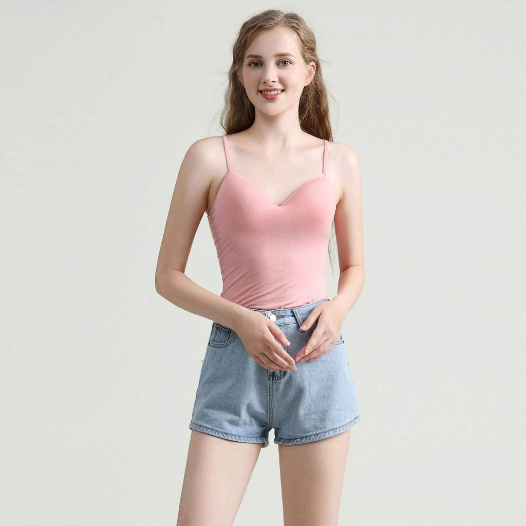 Teen Girls Supersoft Spaghetti Strap Tank Tops Skinny Bottoming Vest Blouse with Chest Pad Modal Cami for Women