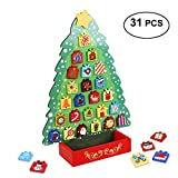 Unomor Advent Calendar with 31 Magnets, Countdown to Christmas Wooden Advent Calendar for Kids