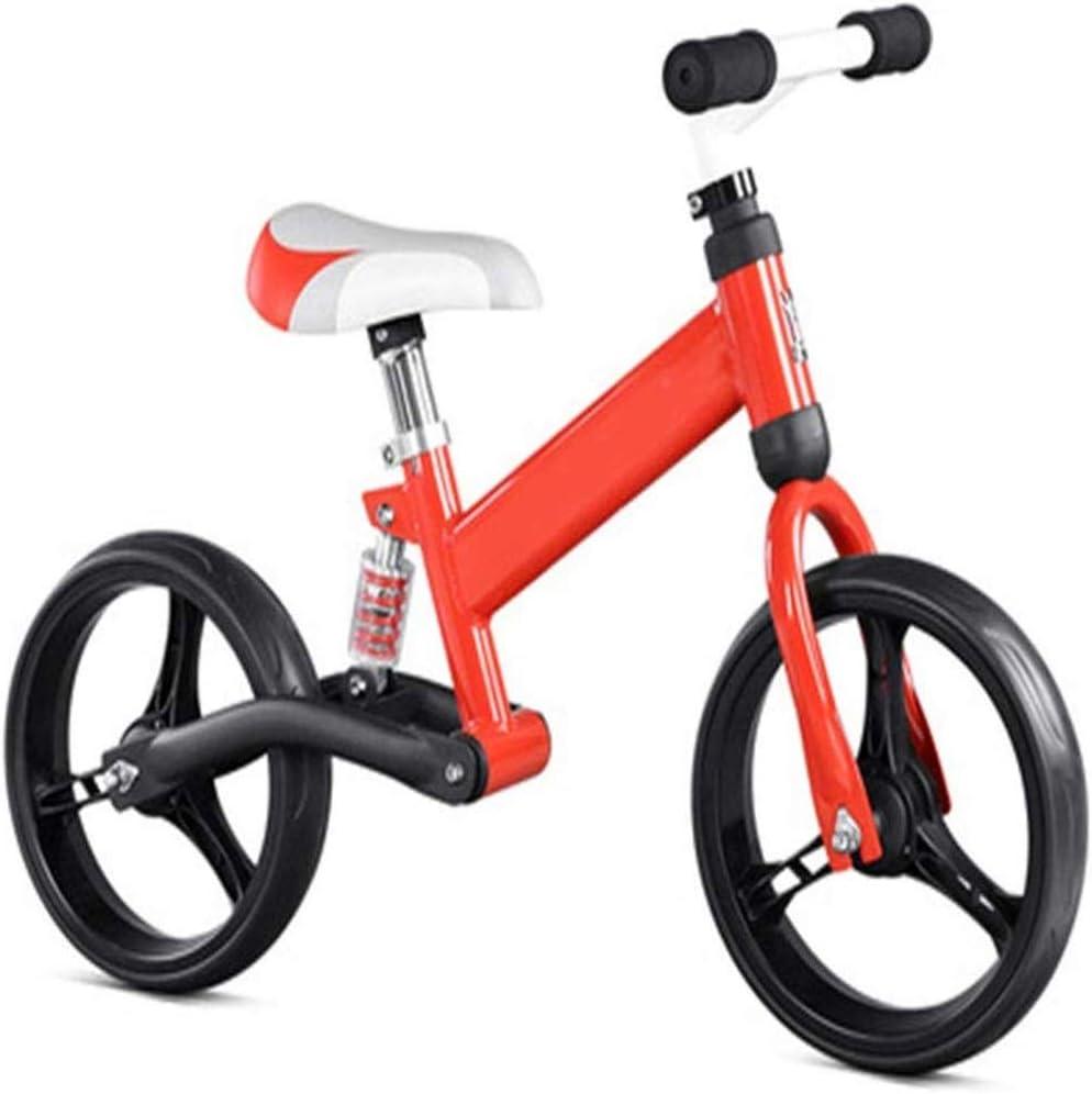 AJH Neumáticos niños Bicicleta de Equilibrio de Peso Ligero Balance de la Bici con amortiguación de Aire Libre Antideslizante Manillar sin Pedal de Empuje Que Caminan del Deporte de la Bicicleta,B
