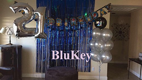 2 Packs Foil Fringe-Backdrop-Blue-3FTX8FT Metallic Door Window Curtain Tinsel Party/Birthday/Wedding/Prom Decoration (Prom Themes Ideas)