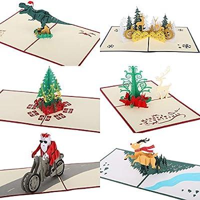 MoKo 3D Tarjeta de Felicitación, [Set de 6PZS] Feliz Navidad ...