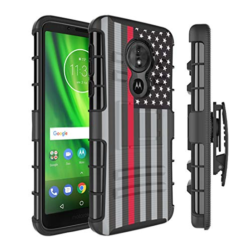 Moriko Case Compatible with Moto G6 Play, Moto G6 Forge [Armor Layer Drop Protection Shockproof Kickstand Holster Combo Black Case] for Motorola Moto G Play 6th Gen - (USA Flag Red Line)