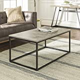 Walker Edison Furniture Company Modern Metal Frame Open Rectangle Coffee Accent Living Room Ottoman End Table, 42 Inch, Dark Concrete Grey
