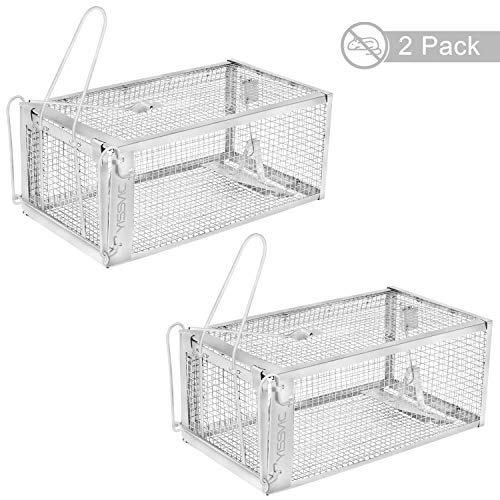 """YISSVIC Live Animal Trap 2 Pack 11"""" X 9.5"""" X 6"""" Catch Release Cage for Mouse Rats Mice Rodents and Similar Small Sized Pests (2 Pack) ()"""