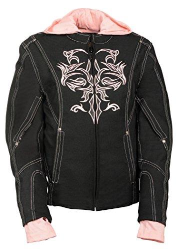 NexGen Women's Doulon P1300 Nylon Twill Fleece Hooded Jacket (Black/Pink, - Blacked Full Length
