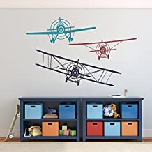 Wall Decal Decor 3 Airplanes Wall Decal - Wall Decals Nursery Boy Biplane Monoplane Wall Decal Boys Kids Room Playroom Decor (navy blue+dark red+teal, Medium Set)