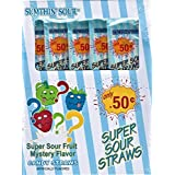 Sumthin' Sour Super Sour Fruit Mystery Candy Straws 1.23 oz bag (Pack of 24)
