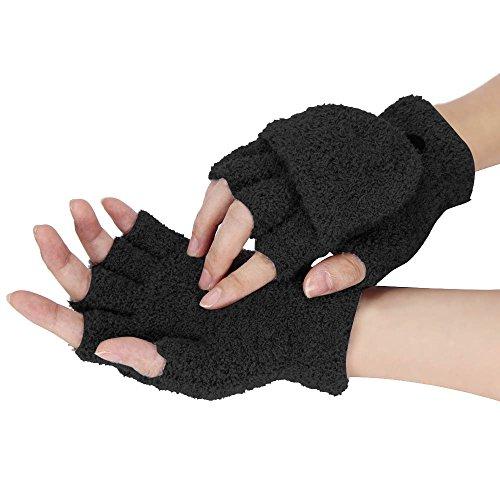 (Women Girls Winter Half Finger Flip Hand Wrist Warmer Gloves Mitten (Black))