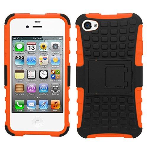 Samrick Shock Proof - Carcasa duradera anti-slip protectora para Apple iPhone 4/4S, color verde Naranja